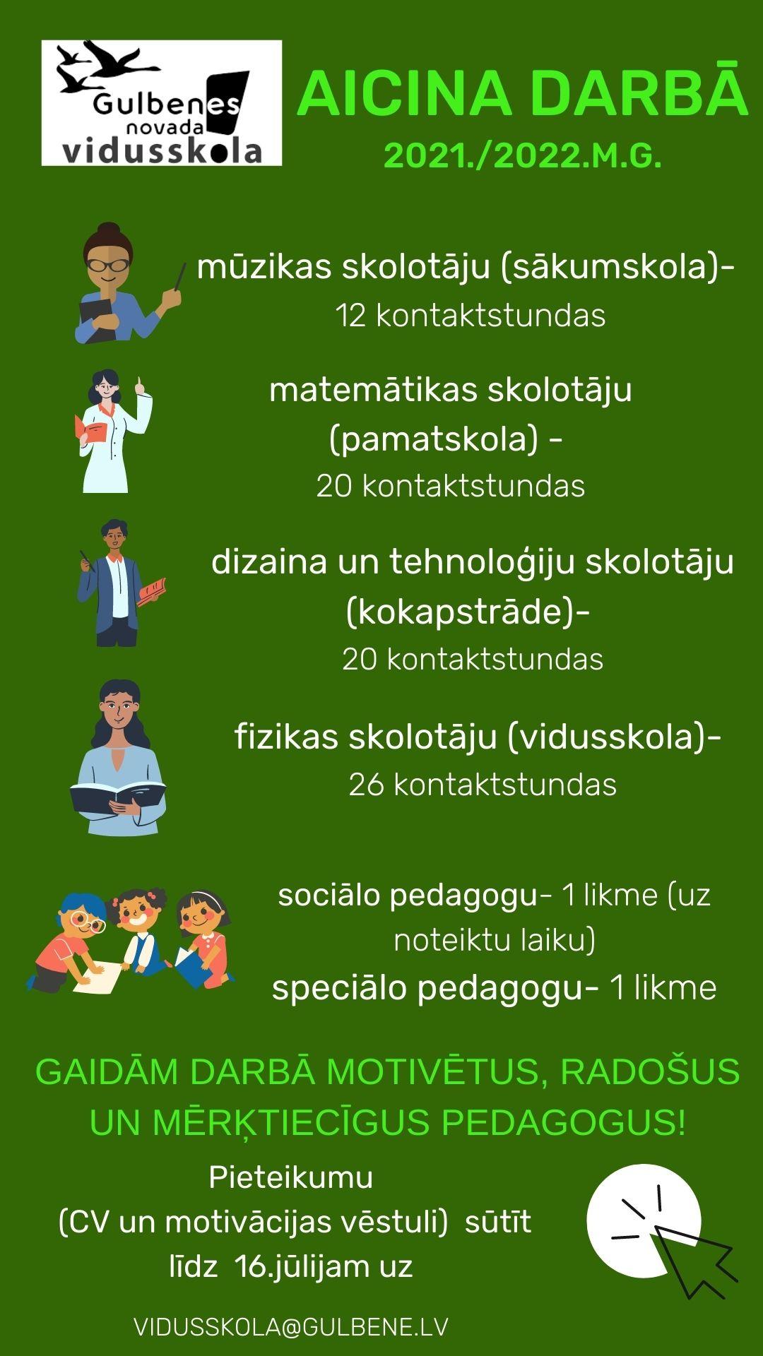 Skolotāju vakances 2021. /2022. mācību gadam